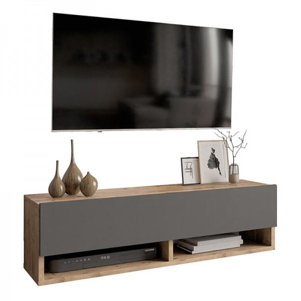 Έπιπλο τηλεόρασης επιτοίχιο Handra pakoworld ανθρακί-καρυδί 100x31,5x29εκ