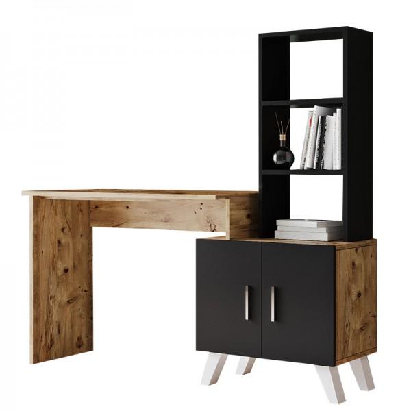 Γραφείο-ραφιέρα Kairo pakoworld μαύρο-καρυδί 150x45x138εκ