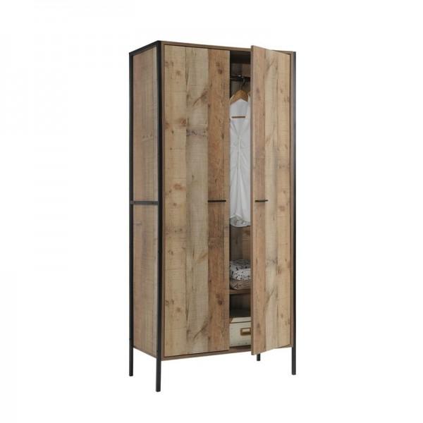 PALLET-W Ντουλάπα Δίφυλλη, 2 Ράφια, Κρεμάστρα, Μέταλλο Βαφή Μαύρο - Απόχρωση Antique Oak-Ε8432,W-Μέταλλο/Paper-1τμχ- 84x52x180cm