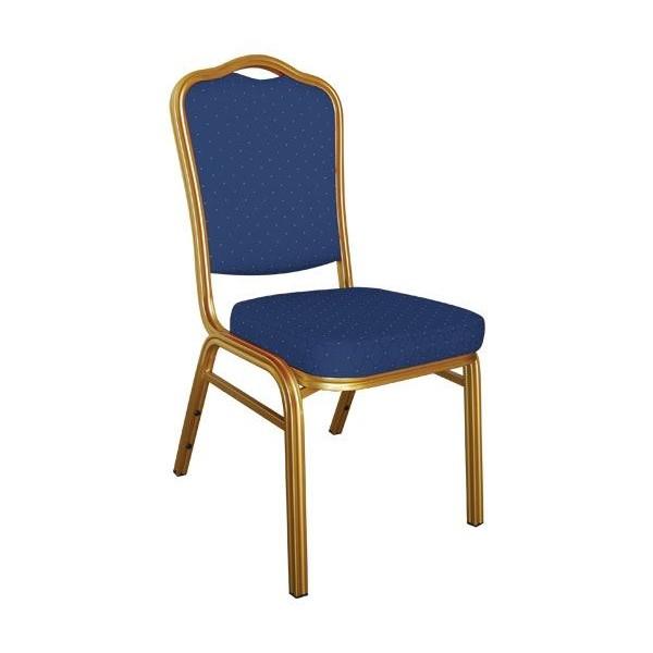 HILTON Καρέκλα Μεταλλική Gold/Ύφασμα Μπλε